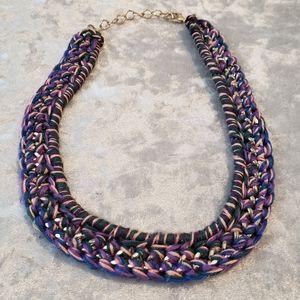 Topshop gold braided statement necklace.